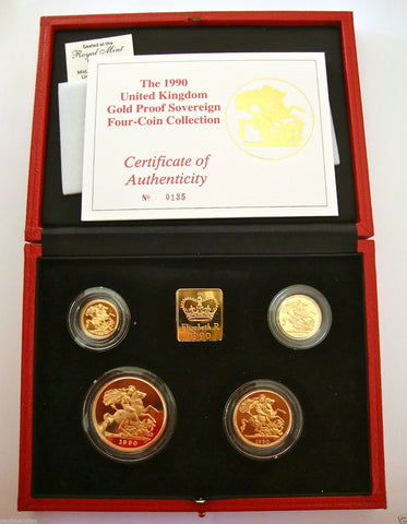 1990 GOLD PROOF FOUR COIN SET £5 £2 SOVEREIGN 1/2 HALF SOVEREIGN