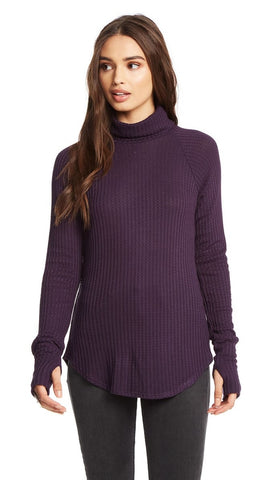 Chaser LA Purple Amethyst Turtleneck Waffle Thumbholes I ShopAA