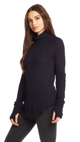 Chaser LA Navy Blue Blueberry Turtleneck Waffle Thumbholes I ShopAA