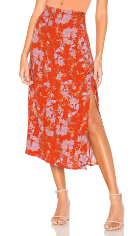 Free People Retro Love Midi High Waist Skirt Burnt Orange Floral I ShopAA