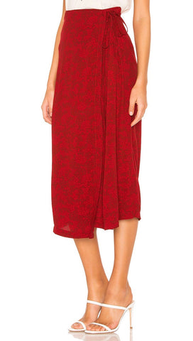 Free People Yasmin Tied Midi Wrap Skirt Raspberry Red Floral I ShopAA