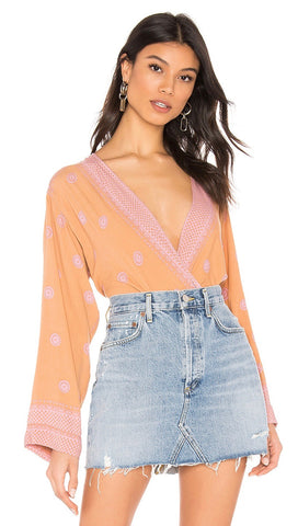 Free People On Board Boho V Neck Bodysuit Flared Sleeve Brown Orange Pink I ShopAA