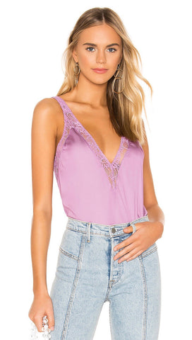 Free People In My Head Silk Satin Lace Cami Tank Top Pink V Neck