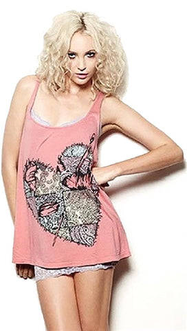 Lauren Moshi Bridgit Patch Heart Vintage Swing Tank with Straps in Rosie Pink