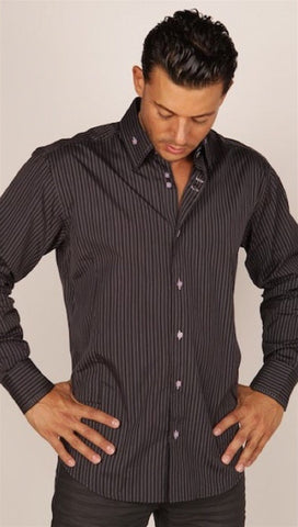 Preview Mens Black Pinstripe Contrast Cuff Shirt