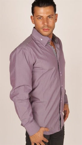 Preview Mens Purple Pinstripe Contrast Cuff Shirt