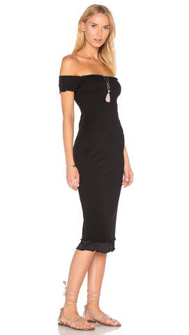 Privacy Please Caperton Midi Dress Black Off The Shoulder l ShopAA