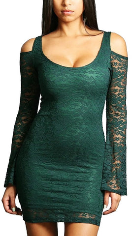 Rockstar Runway Long Sleeve Cold Shoulder Lace Mini in Green
