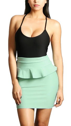 Rockstar Runway Two Tone Black Tank Mint Peplum Skirt Mini Dress