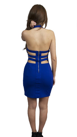 Scarabello Ray Cut Out Sweetheart Bra Top Halter Stud Dress Cobalt Blue …