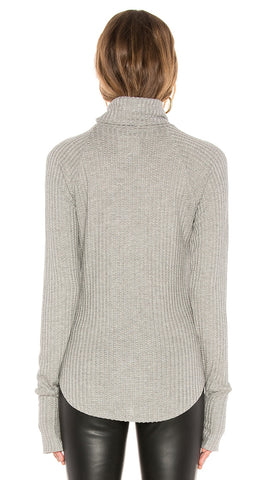 Chaser LA Waffle Thermal Raglan Turtleneck Thumbholes Grey I ShopAA