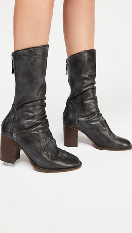 Free People Elle Block Heel Booties Black Leather Slouchy Shoes Boots