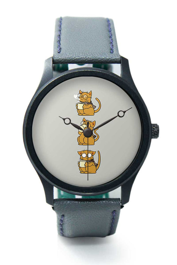 Wrist Watches India |Cat Coffee And Glasses Brown  Premium Men Wrist WatchOnline India.