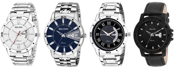Combo Of 4 Day and Date Wrist Watch for Men and Boys