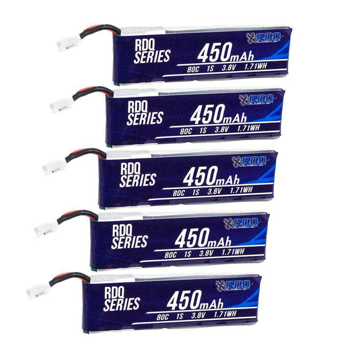 RDQ Series 3.8V 1S 450mAh 80C LiHV Whoop/Micro Battery for TinyHawk 5 Pack - PH2.0