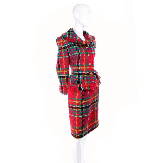 Plaid Oscar de la Renta 1991 skirt suit