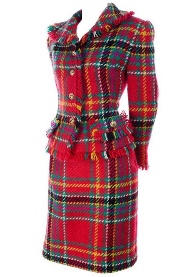 Red, Pink, Green Plaid Tartan fringe jacket skirt suit