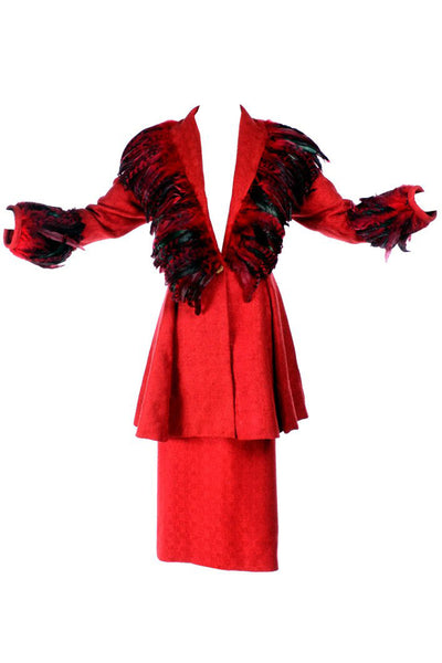 Simon Copeland Red Feather Skirt Suit