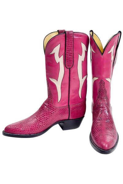 Pink Leather and Snakeskin Cowgirl Boots