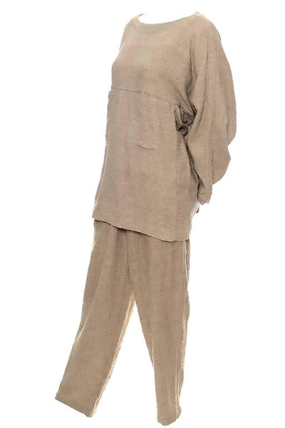 Textured cotton tunic top and pants by Issey Miyake Plantation