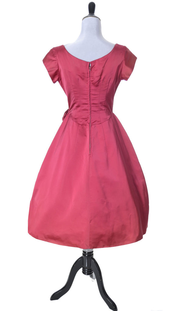 1950's Kay Selig Raspberry Pink Satin Vintage Dress - Dressing Vintage