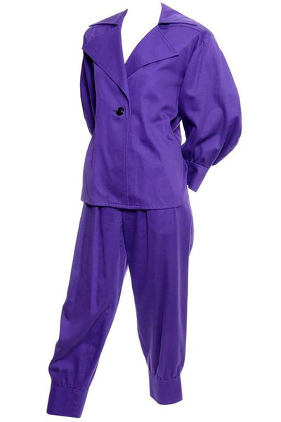 Purple Yves Saint Laurent Jacket and Pants Outfit