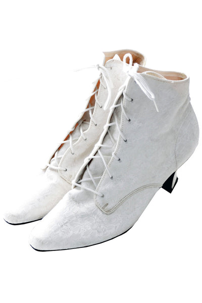 Vintage Victorian Style white jacquard wedding boots 8B - Dressing Vintage
