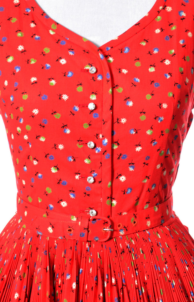 VIntage red dress Peck and Peck floral print as new condition SOLD - Dressing Vintage