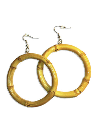 Red Round Bamboo Hoop Earrings