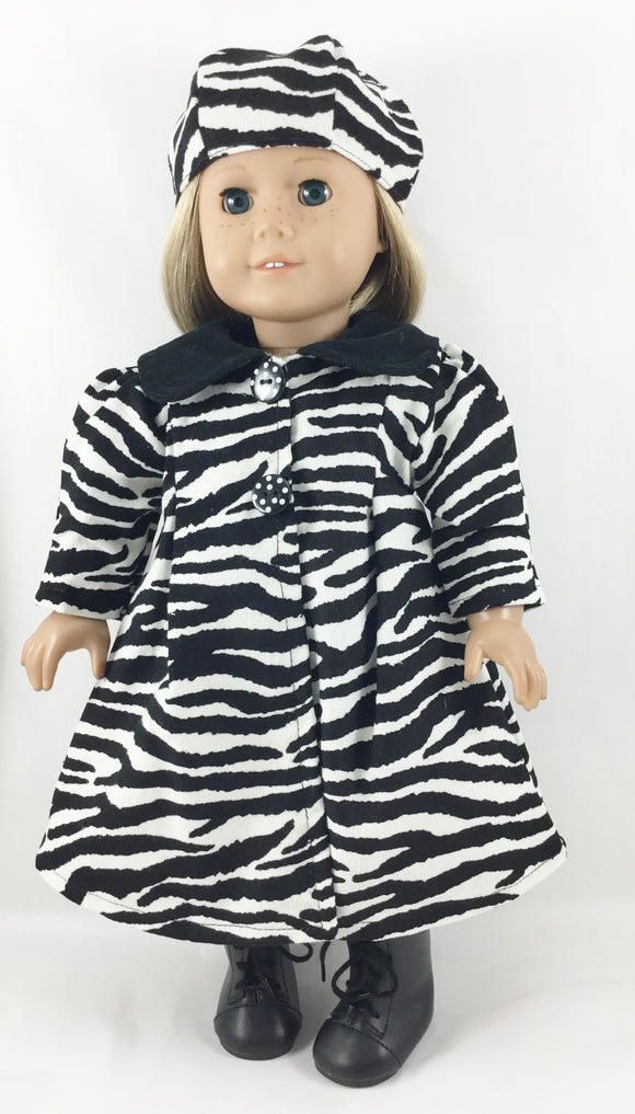 The Madeline Coat and Hat Zebra Print