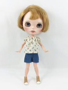 Blythe Doll Clothes Nautical Peasant Top Shorts