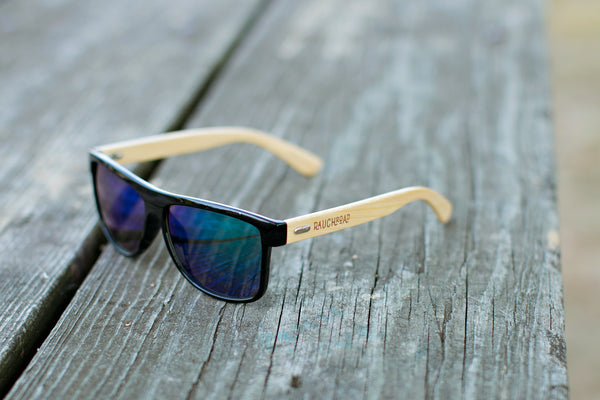 Blue Mirror Bamboo Sunglasses