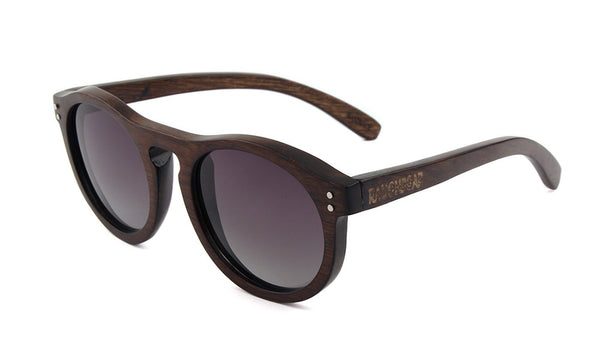 Brown Wood Round Polarized Sunglasses