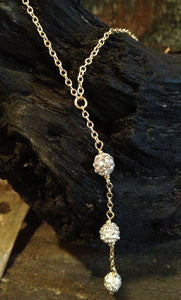Pave CZ 3 ball Dangle on Chain