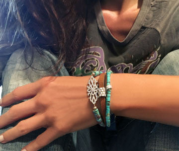 Turquoise Bracelet with Pave CZ Connector on Stretch Cord