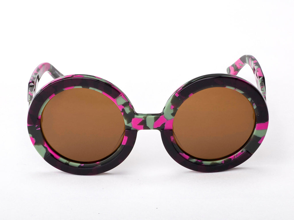 Sobo Sunglasses Pink Camo Frame With Mirror Gold Lens