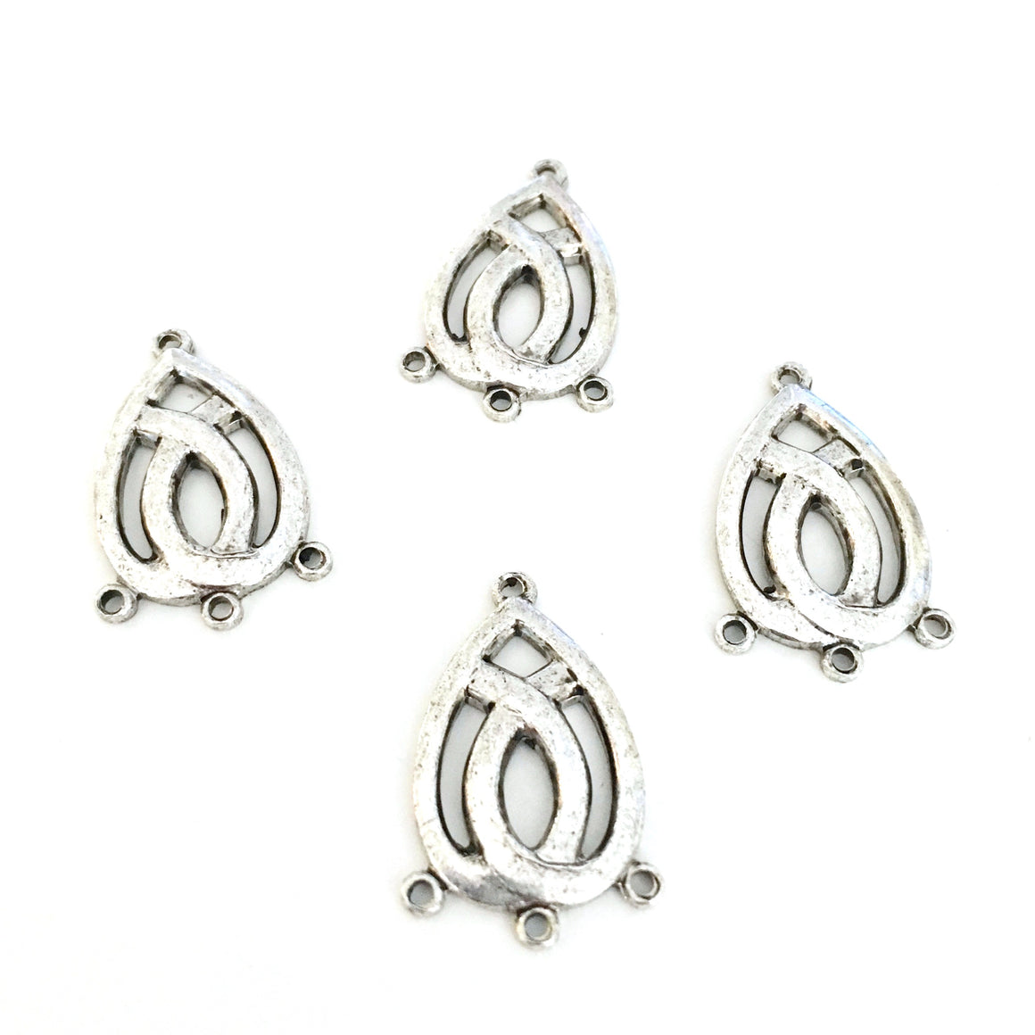 antique silver teardrop triple chandelier charms