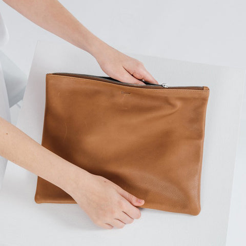 Large Leather Zip Clutch
