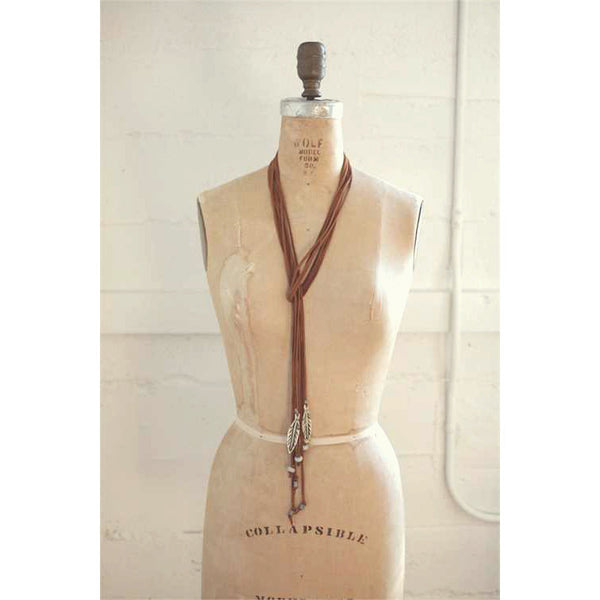 Eggar Feather & Leather Cord Necklace