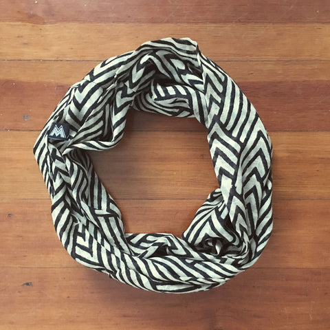 Atlas Chevron Infinity Scarf, Black