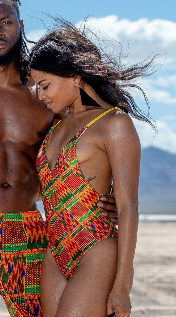 Kente Sexy Lacing Backless One-Piece Swimsuit