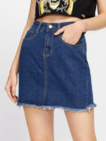 007 Fray Hem Denim Skirt