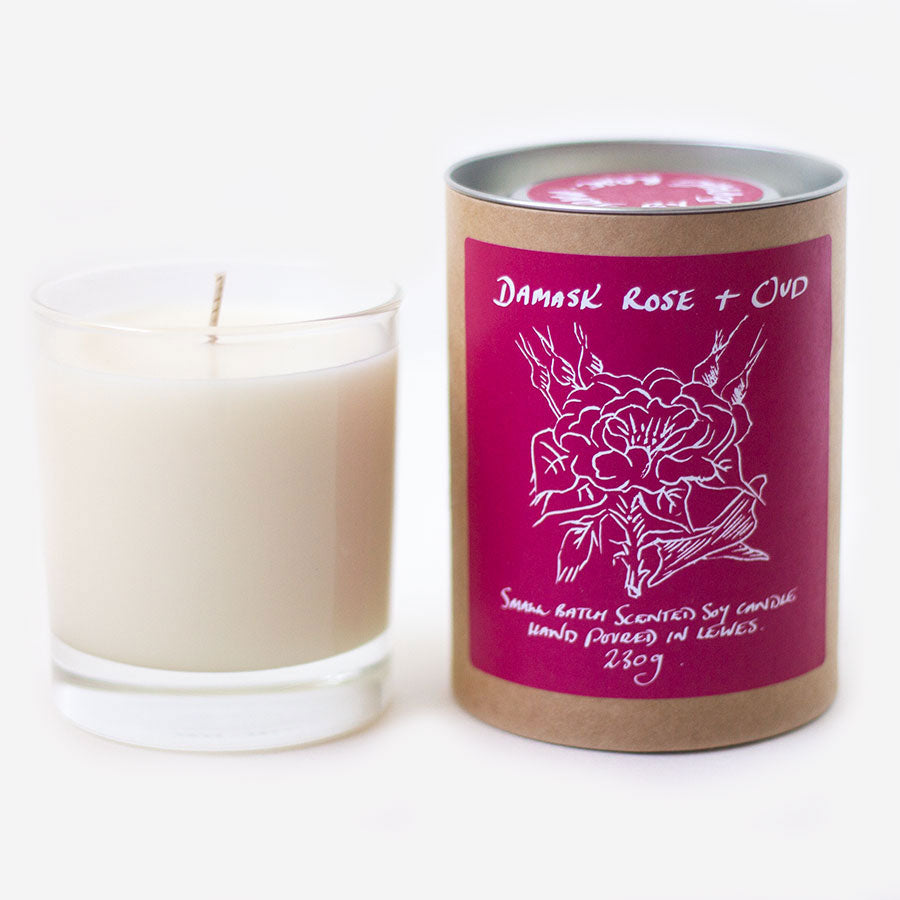 Damask Rose + Oud Scented Candle