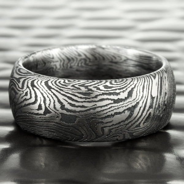 Wide Domed Titanium and Black Zirconium Mokume Wedding Band 7mm Wide | DARK BURL