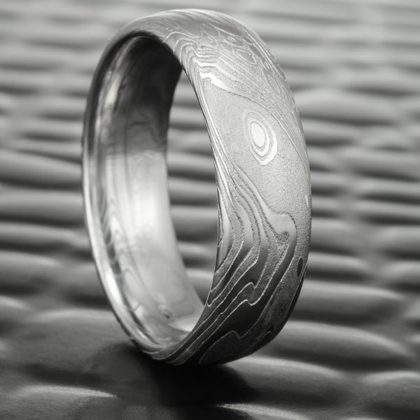 Damascus Steel Wedding Ring 7mm Wide | TIDEPOOLS