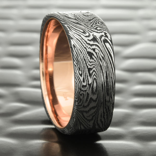 Mokume Gane Square 8mm Band in Titanium & Black Zirconium with 14K Rose Gold Liner  |  DARK BURL