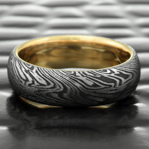 Titanium & Black Zirconium 6mm Mokume Gane Domed Band with 14K Yellow Gold Liner  |  DARK WOOD