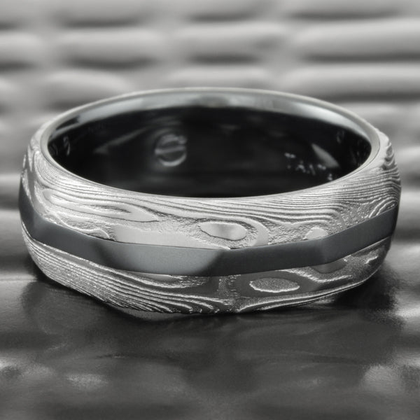 Faceted Natural Woodgrain Damascus 7mm Wide with Tantalum Liner & Inlay  |  EPIC WOOD