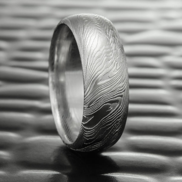 8mm Wide Half Round Damascus Steel Wedding Band | FINE WOOD