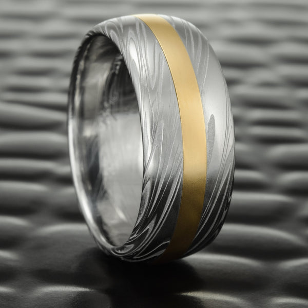 Men's 14K Yellow Gold Inlay in a 9mm Wide Damascus Steel Band | SWIRLING CURRENT